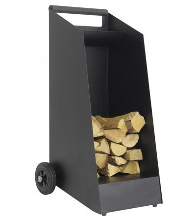 Wózek na drewno WOOD (prostokątny) czarny mat